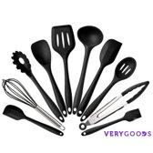 KitchenSupply - Kookgerei – (10 st.) - RVS - Siliconen - BPA vrij – Siliconen bakset – zwart