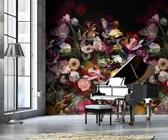 Behang poster colorful florals en retro power explosion dark