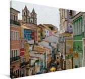 Oude binnenstad van Salvador in het Zuid-Amerikaanse Brazilië Canvas 90x60 cm - Foto print op Canvas schilderij (Wanddecoratie woonkamer / slaapkamer)