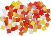 Mini mozaiek afm 5x5 mm dikte 2 mm rood/oranje harmonie 25gr