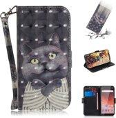 Let op type!! 3D gekleurde tekening knuffel kat patroon horizontale Flip lederen case voor Nokia 1 Plus  met houder & card slots & portemonnee