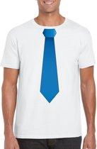 Wit t-shirt met blauwe stropdas heren L