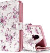 Let op type!! Voor Galaxy S9 + Rose Flower patroon horizontale Flip lederen draagtas met houder & kaartsleuven & portemonnee