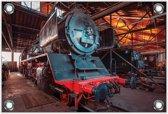 Tuinposter Stoomtrein / Locomotief 150x100cm- Foto op Tuinposter (wanddecoratie voor buiten en binnen)