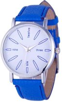 Hidzo Horloge Three, Six, Nine, Twelve ø 37 mm - Blauw - In horlogedoosje
