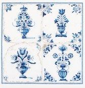 Thea Gouverneur Borduurpakket 483A Delft blauwe tegels, vazen - Aida stof 100% katoen