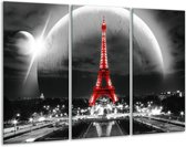 Glas schilderij Parijs, Eiffeltoren   Zwart, Wit, Rood   120x80cm 3Luik   Foto print op Glas    F006984
