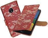BestCases.nl Motorola Moto G5 Plus Lace Effen booktype hoesje Rood