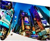 Times Square NYC in de avond Tuinposter 200x100 cm - Tuindoek / Buitencanvas / Schilderijen voor buiten (tuin decoratie) XXL / Groot formaat!