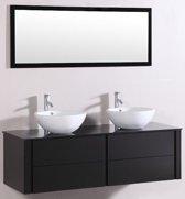 Badkamermeubel 9012, 120 cm, kleur Zwart met Keramieke Waskommen en Spiegel