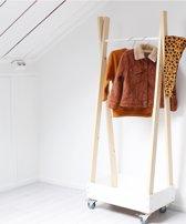 Houten Kledingrek - Sweet - Wielen - Wit - 30x50x100 cm