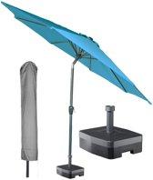 Kopu® ronde stok parasol 300 cm Calma met hoes en voet - Turquoise