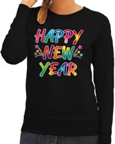 Oud en nieuw trui / sweater Happy New Year zwart voor dames XL (42)