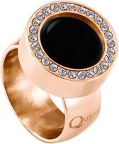 Quiges RVS Schroefsysteem Ring met Zirkonia Rosékleurig Glans 16mm met Verwisselbare Agaat Zwart 12mm Mini Munt