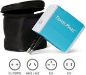 Universele Wereldstekker met 2 USB Poorten – Blauw - Internationale Reisadapter Voor meer dan 150 landen - Engeland (UK) - Amerika (USA) - Australië - Azië - Zuid Amerika - Reis Adapter Stekker – Reisstekker – Wereldadapter – Travel Verloopstekker