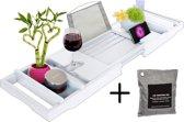LuxerLiving Badplank - Tray - Houder tablet/iPad, boek, drankje, etc. - Bamboe - Hout - Duurzaam - Badkamermeubel - Verstelbaar - Wit