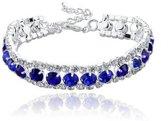 Armbandje zilver met blauwe strass