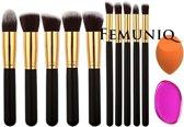 Femuniq - Kabuki Make-up Kwastenset plus silisponge en bdoc spons - 10 delig - Zwart Goud - Oogschaduw Poeder