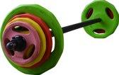 Bodypumpset RS Sports 150 - Halterset - 40 kg - Rood/Geel/Roze