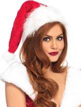 Pluche Kerstman muts rood/wit - One size - Leg Avenue