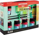 Deco Glass set 5 kleuren 16 ml flacons met penselen en reliëfverf goud (glasverf)