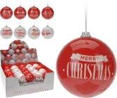 1 Kerstbal kunststof 8cm rood wit