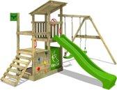 FATMOOSE Speeltoestel FruityForest met schommel en Groen glijbaan, Houten speelhuis met zandbak en klimwand