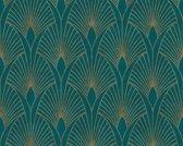 ART DECO BEHANG - Blauw Groen Goud Metallic - AS Creation New Walls