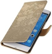 Lace Bookstyle Hoes voor Huawei Honor 6 Plus Goud