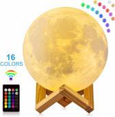 Mind-Xpanding® | Maan Lamp ø 20 cm. | RGB 16 Multicolour / Kleurstanden + Afstandsbediening | 3D Print LED Touch Control Maanlamp op Houten Standaard | USB Oplaadbare Moon Lamp | Dimbaar | Sfeerlamp | Leeslamp | Nachtlamp | Tafellamp | Moon Light