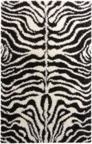 Gunstig Hoogpolig Vloerkleed met Zebra Print - 120X170 cm  - Zwart Wit