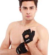 1 Paar Fitness Handschoenen met Klittenband - Zwart Maat L - Sport Gewichtheffen
