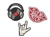 Strijk embleem 'Retro/vintage rock & roll patch set (3)' – stof & strijk applicatie