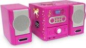 Bigben Micro Radio CD Speler met 300 Stickers - Roze