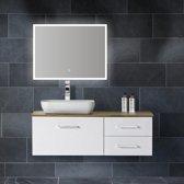 Badkamerspiegel Quatro 80x60cm Geintegreerde LED Verlichting Verwarming Anti Condens met Lichtschakelaar