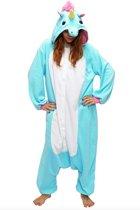 KIMU Onesie eenhoorn pak blauw unicorn kostuum - XS-S - huispak 152 158