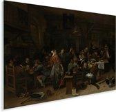 Prinsjesdag - Schilderij van Jan Steen Plexiglas 160x120 cm - Foto print op Glas (Plexiglas wanddecoratie) XXL / Groot formaat!