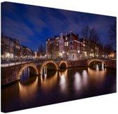 Canvas Amsterdam Keizersgracht Amsterdam bij nacht Canvas 60x40 cm - Foto print op Canvas schilderij (Wanddecoratie woonkamer / slaapkamer) / Steden Canvas Schilderijen