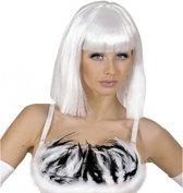Witte damespruik op schouderlengte