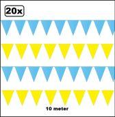20x Vlaggenlijn geel en lichtblauw 10 meter