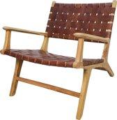 HSM Collection Loungestoel met armleuning - leder/teak - cognac