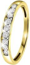 Lucardi - Diamond Luxury - 14 Karaat geelgouden rail ring met diamant