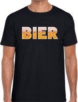 Bier tekst t-shirt zwart heren -  feest shirt Bier voor heren 2XL