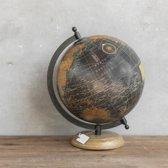 Wereldbol globe antieke look Op Voet 28 cm