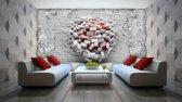 Fotobehang 3D, Muur | Rood, Wit | 208x146cm