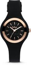 Colori Macaron Sparkle 5-COL542 - Horloge - siliconen band - ø 30 mm - zwart / rosékleurig