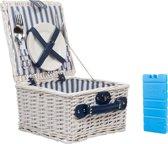 Picknickmand 2 Persoons Blauw/Wit Streep - met koelelement
