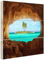 Paradijs in het Caribisch gebied Hout 120x80 cm - Foto print op Hout (Wanddecoratie) / Zee en Strand