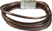 Petra's Sieradenwereld - Leren armband bruin met magneetsluiting