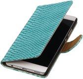 Turquoise Slang booktype wallet cover hoesje voor Huawei P9 Plus